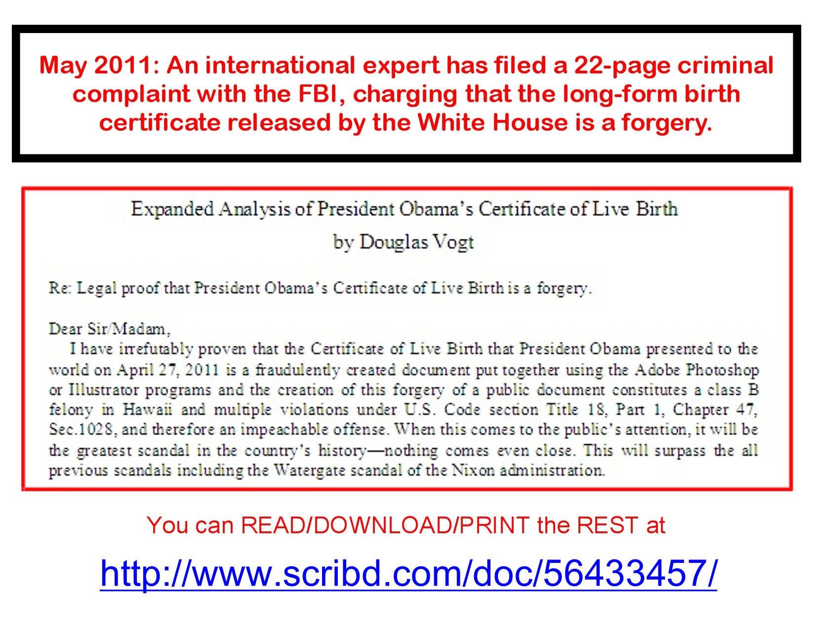 Criminal complaint filed with FBI re BHO's birth certificate |