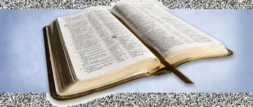 Bible open on blue