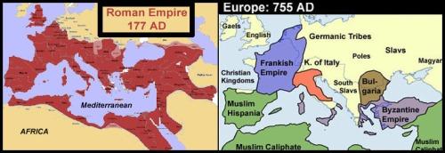 Roman Empire vs Dark Ages maps