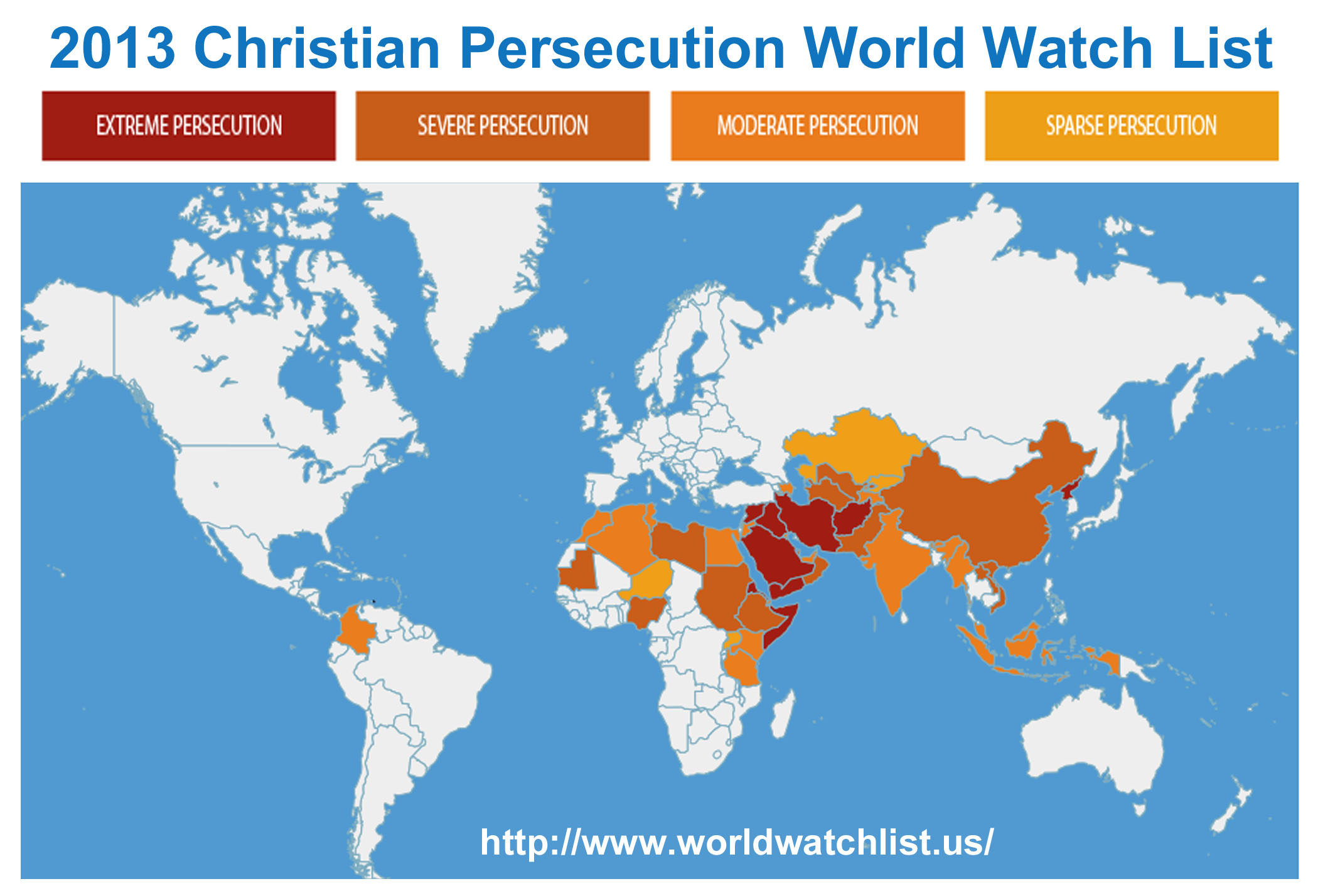 Christian Persecution World Watch List - Christian countries in the world map