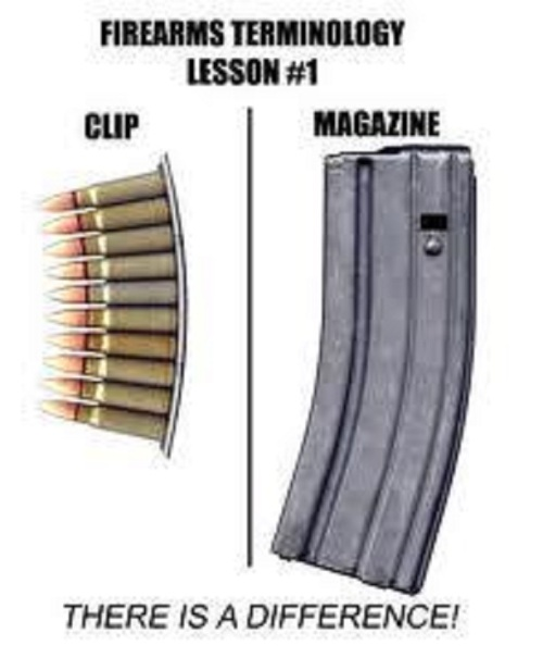 Firearms lesson clip vs magazine