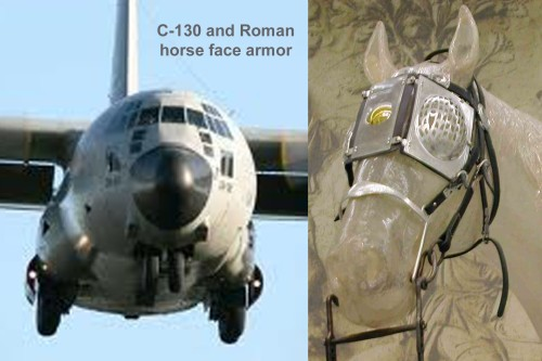 C-130 and Roman horse face armor
