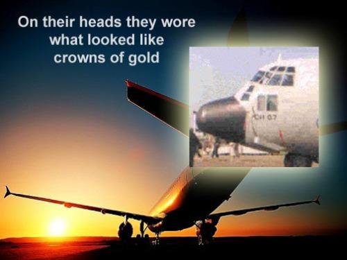 C-130 crown - glass flashing gold in sun