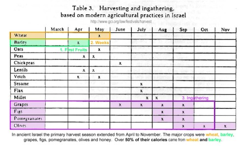 Harvest times in Israel