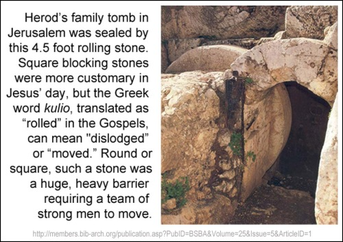 Stone blocking tomb