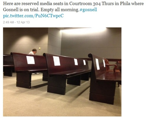 2013_04 12 Media seats at Gosnell trial are empty