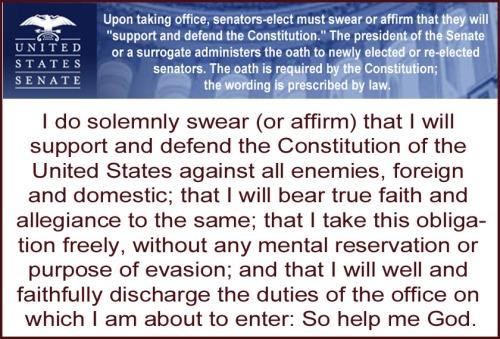 Senators must swear before taking office