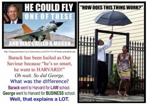Bush Jet Pilot vs Obama Umbrella Fool