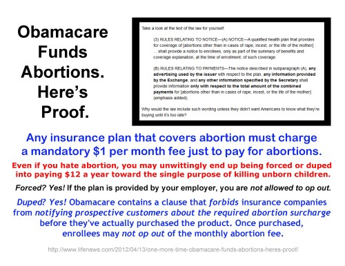 Obamacare funds abortion