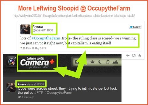 Occupy the Farm anti-capitalist uses iPhone