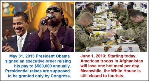 2013_06 01 BHO gives self raise, cuts meals to troops