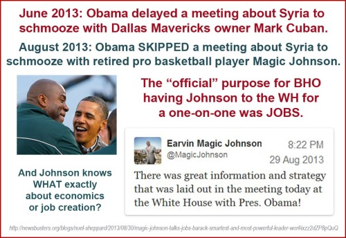 2013_08 29 BHO skips Syria mtg to schmooze with bball star