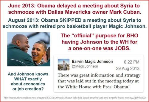 2013_08 29 BHO skips Syria mtg to schmooze with bball star