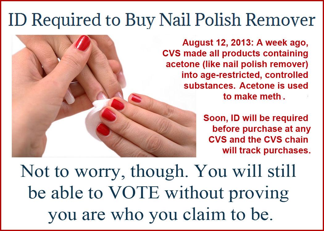 You\'ll need ID to buy nail polish remover at CVS |