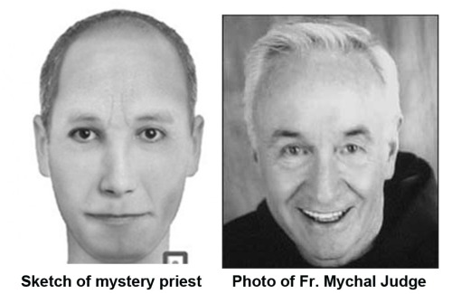 Mystery priest sketch and Fr Judge pic
