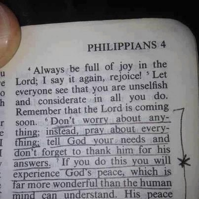 Phil 4 Don't worry, Pray always
