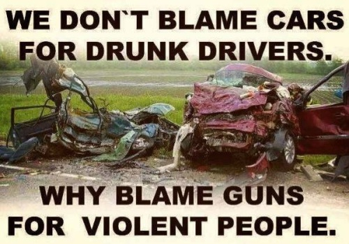 GUNS We don't blame cars