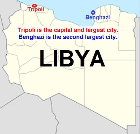 Libya map - Tripoli Benghazi