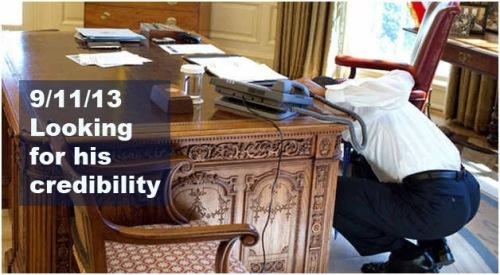 Obama looking under desk