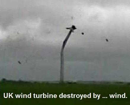UK wind turbine destroyed by wind