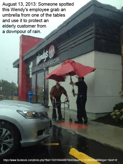 2013_08 13 Wendy's employee shelters old man