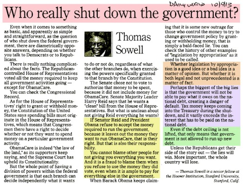 2013_10 09 Sowell Who shut down govt