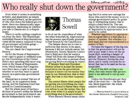 2013_10 09 Sowell Who shut down govt