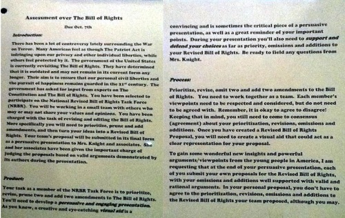 Common Core Revise the Bill of Rights
