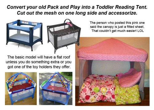 Convert pack and play to toddler reading area