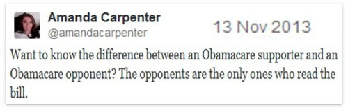 2013_11 13 Ocare support v opposition in one BOOM tweet