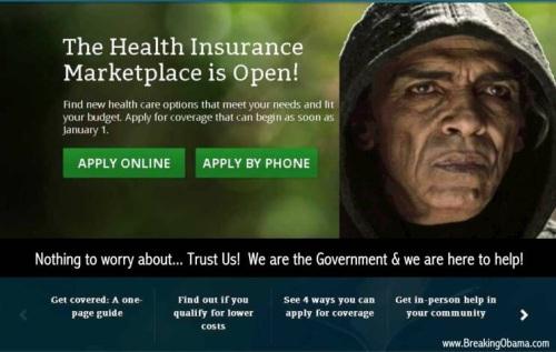 Healthcare dot gov with Satan Obama