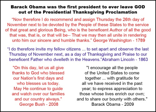 Obama Firsts - Cutting GOD out of Thanksgiving