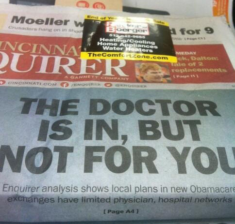2013_12 08 Cincinnati Enquirer Øcare headline