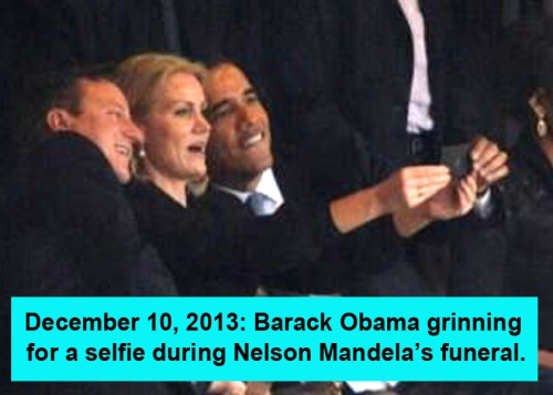 2013_12 10 BHO grinning for selfie at funeral