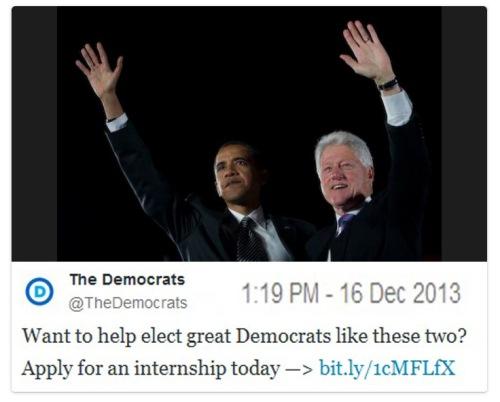 2013_12 Dems use Bill Clinton to recruit interns