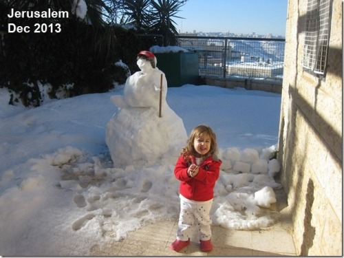 2013_12 Jerusalem snowman 100 year snow
