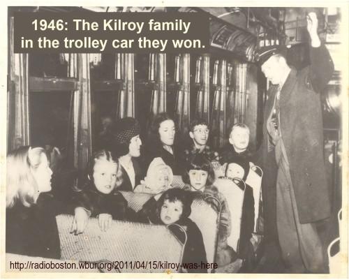 Kilroy family in trolley car prize