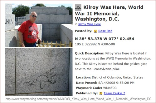 Kilroy was here at WWII monument