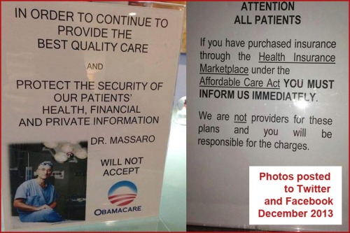 OBAMACARE 2013_12 Two doctors post No care under Ocare