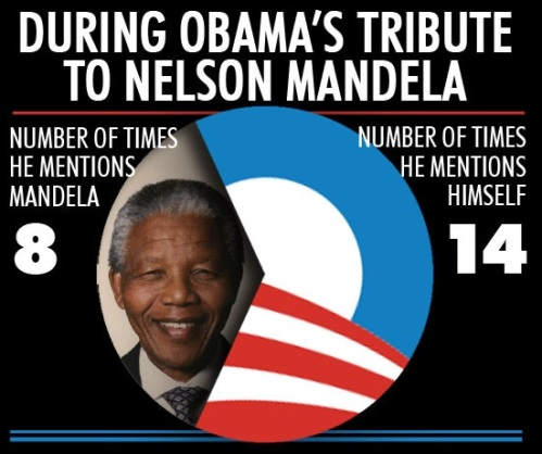 Obama's tribute to Mandela and HIMSELF