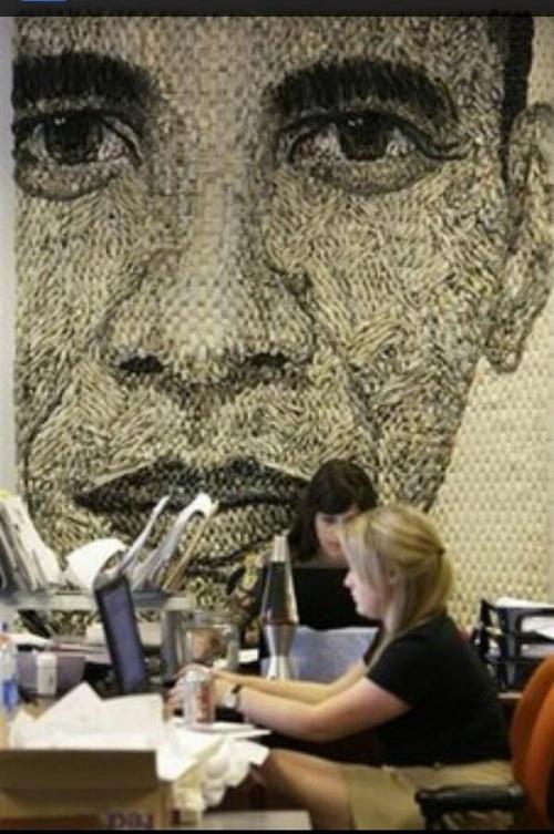 Obama mural in office