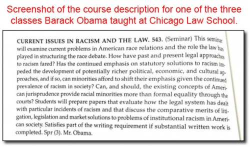 Obama course on Racism and the Law