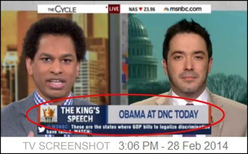 2014_02 14 MSNBC chyron - BHO The King