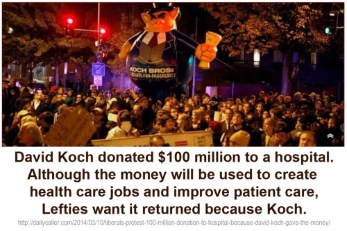 2014_03 10 Libs protest hospital donation by Koch