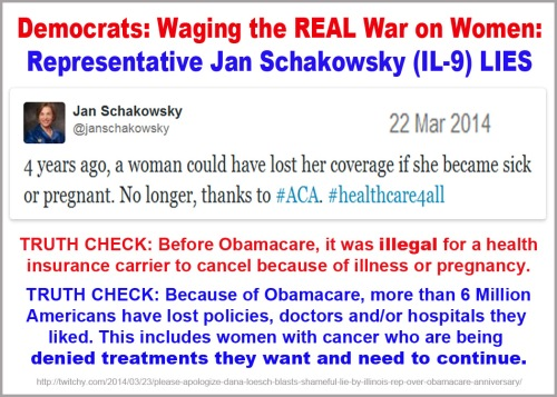 2014_03 22 Schakowsky lies for Obamacare