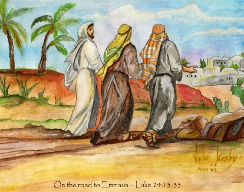 Jesus on road to Emmaus