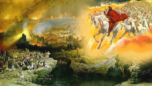 Jesus on white horse with army