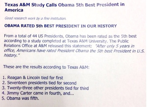 Obama 5th best pres in history