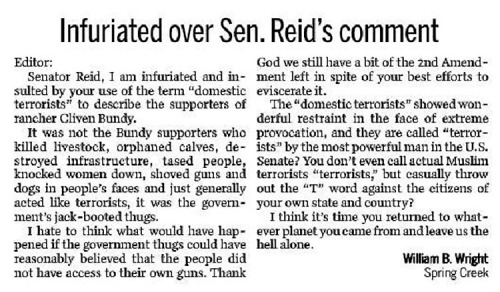 Infuriated over Sen Reid's statement