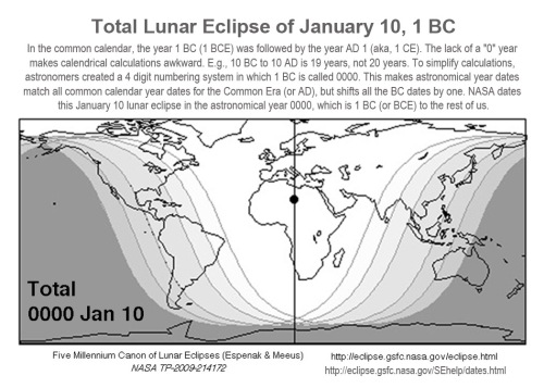 Lunar eclipse chart from NASA for Jan 10 1 BC